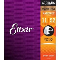 Corde per chitarra acustica Elixir nanoweb 11/52