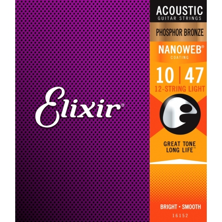 Corde per chitarra acustica Elixir nanoweb 10/47
